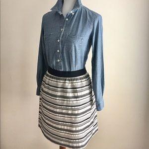 Loft silk skirt | Black + White striped | Sz 12